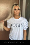 White Puff Sleeve Vogue Print Top - Ryan