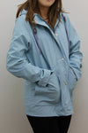 Baby Blue Waterproof Hooded Festival Rain Mac coat - Lola - storm desire