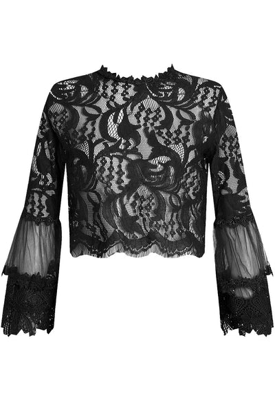 Black Lace Floral Embroidery Top - Sadie - storm desire