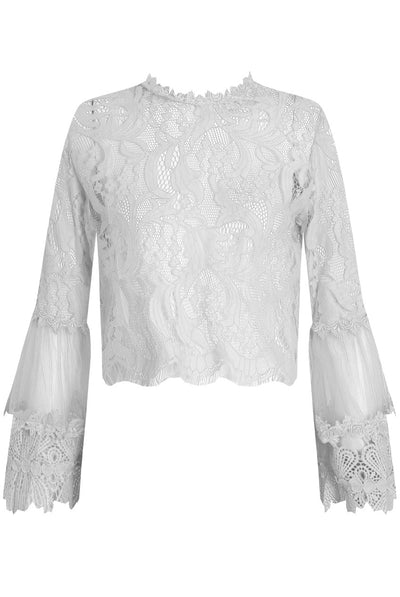 White Lace Floral Embroidery Top - Sadie - Storm Desire
