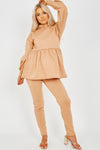 Camel Peplum Frill Hooded Fleece Co-ord - Denise