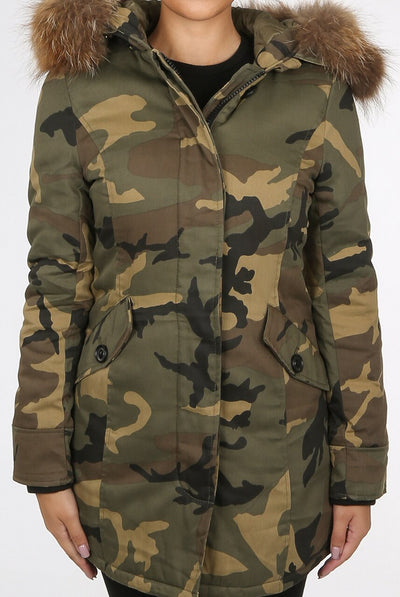 Army Camouflage Natural Fur Hooded Parka Coat -  Diana