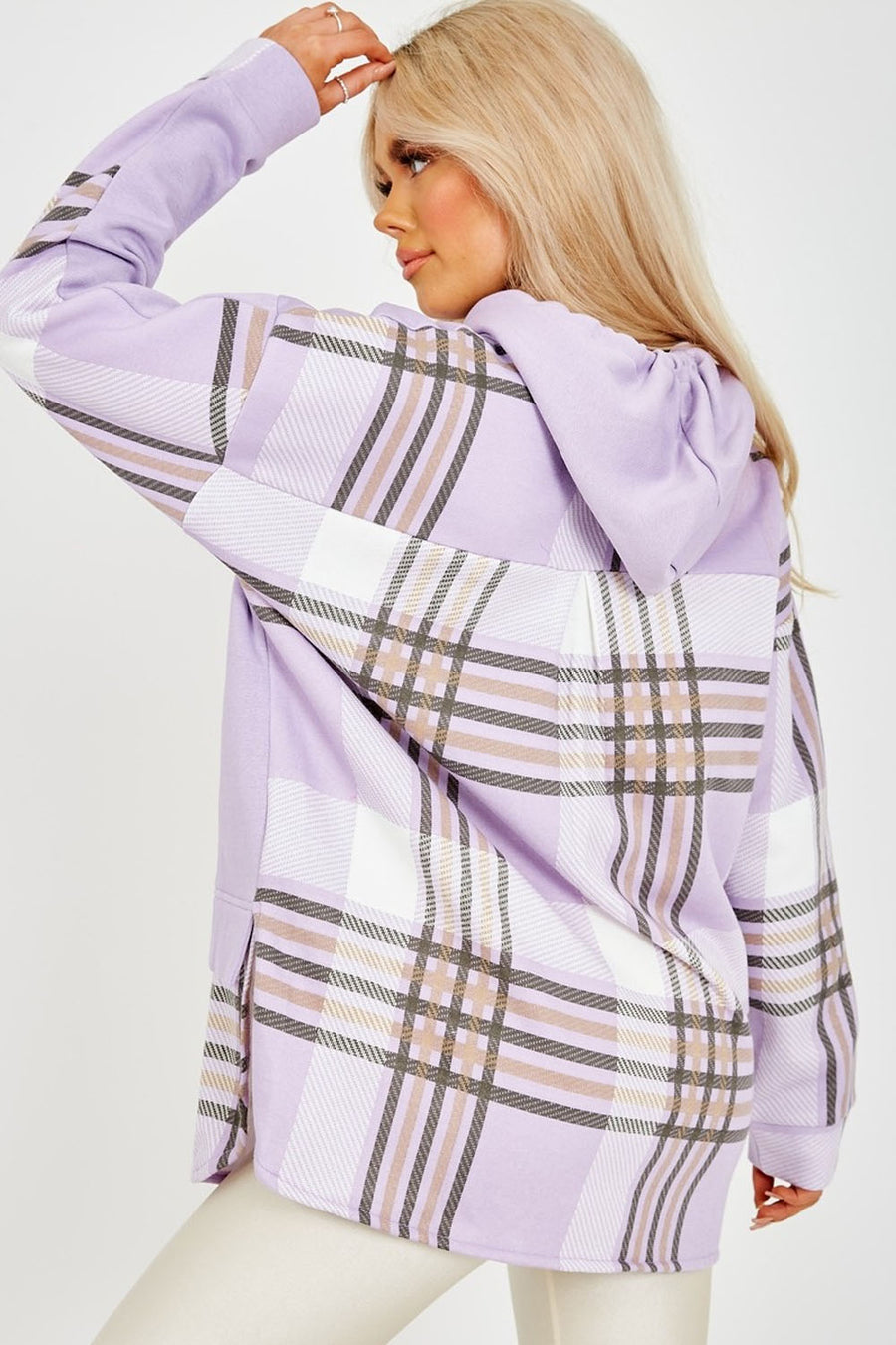 Lilac Check Detail Fleece Hoodie - Kelsey