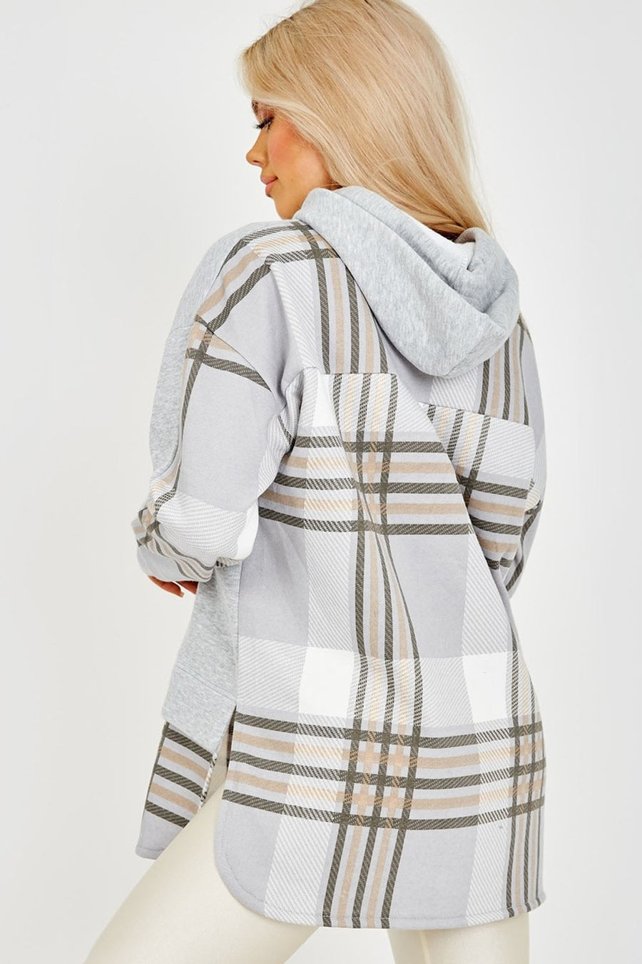 Grey Check Detail Fleece Hoodie - Kelsey