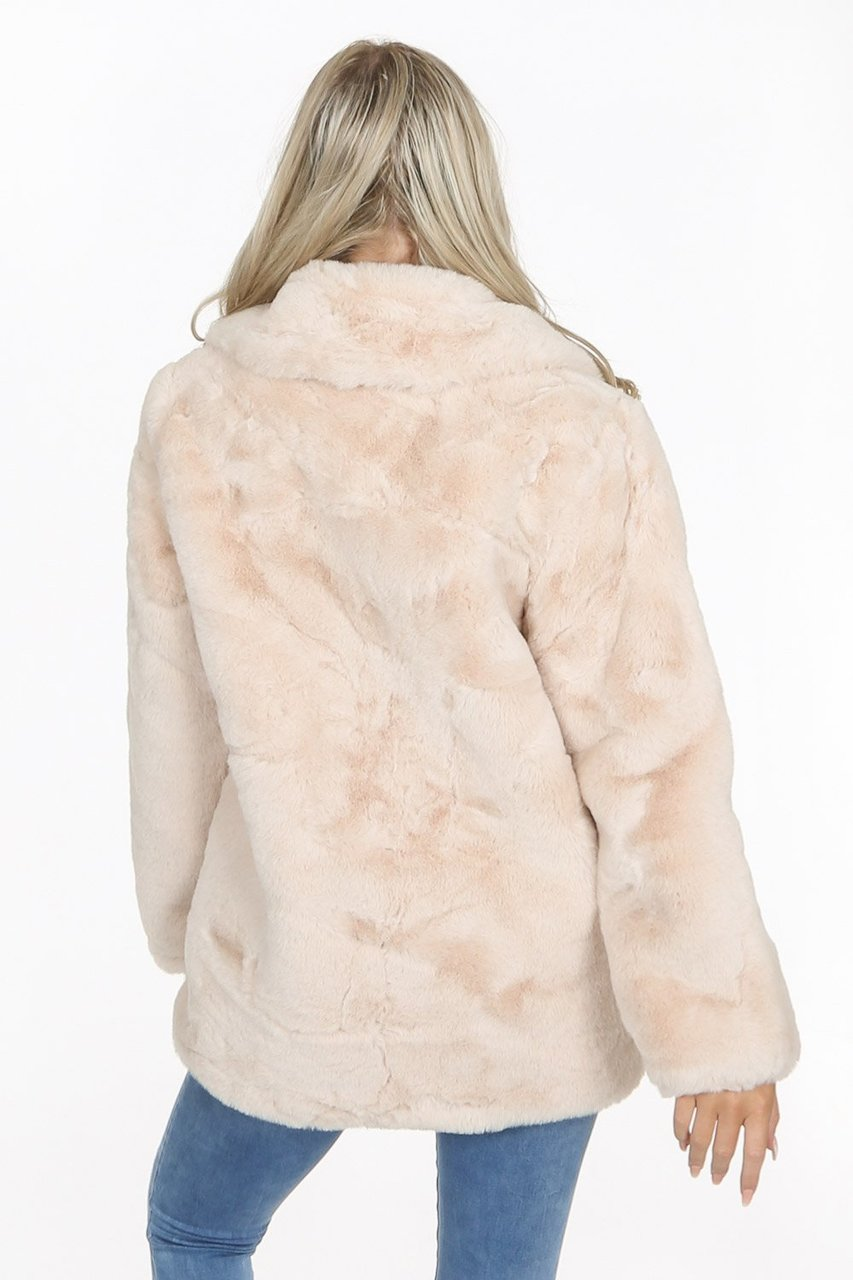 Cream Faux Fur Teddy Over Coat - Hailey