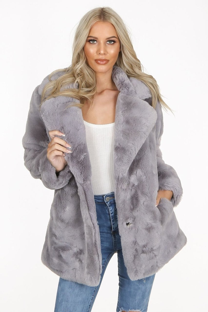 Grey Faux Fur Teddy Over Coat - Hailey