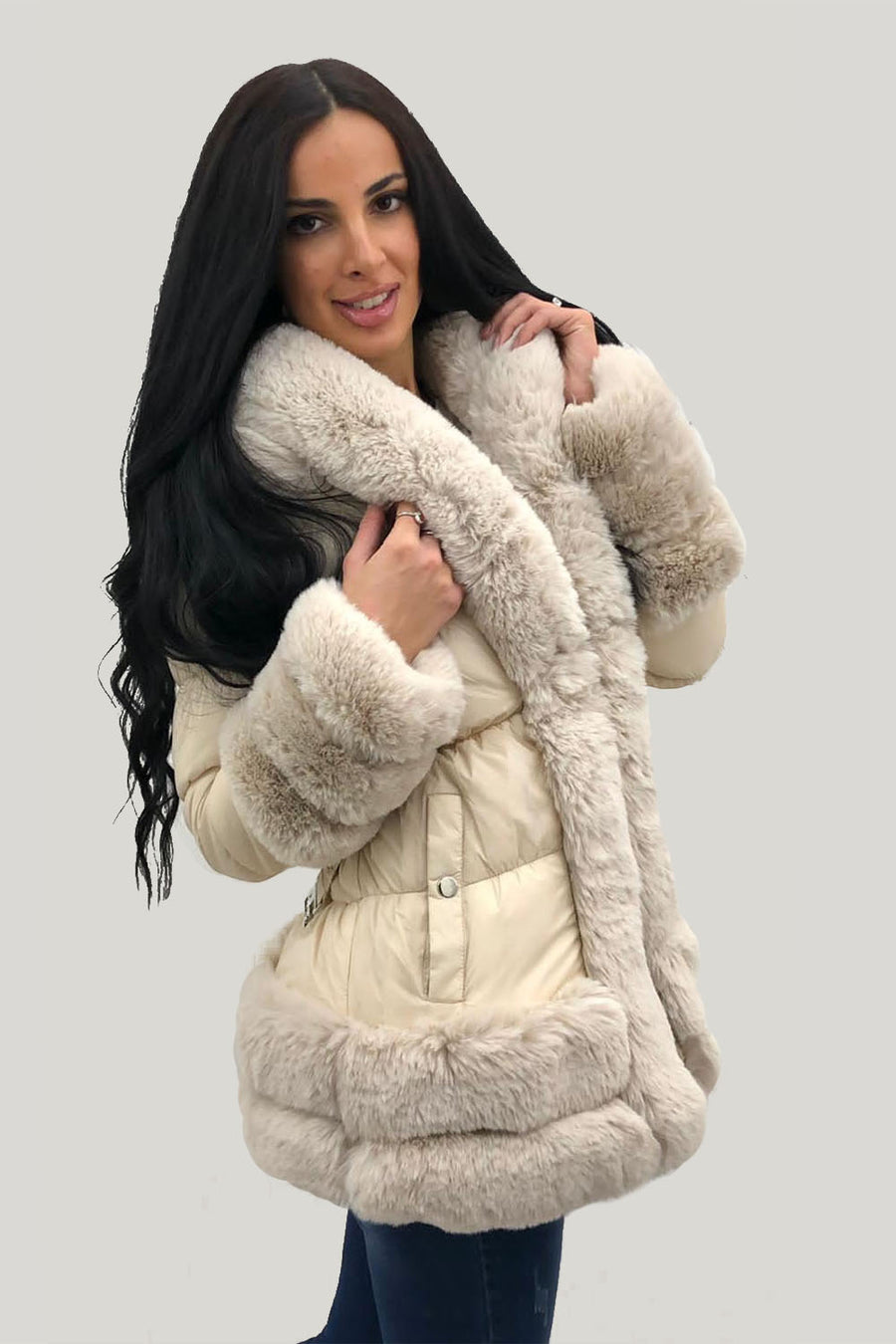 Apricot Faux Fur Trim Panel Jacket - Alyssa