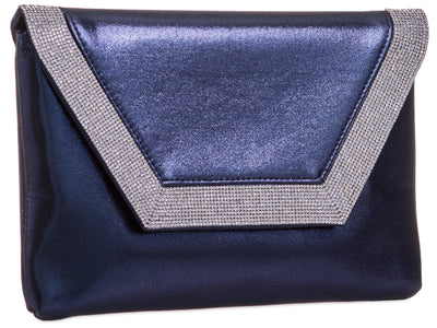 Navy Mettalic Diamante Clutch Bag - Mckenzie