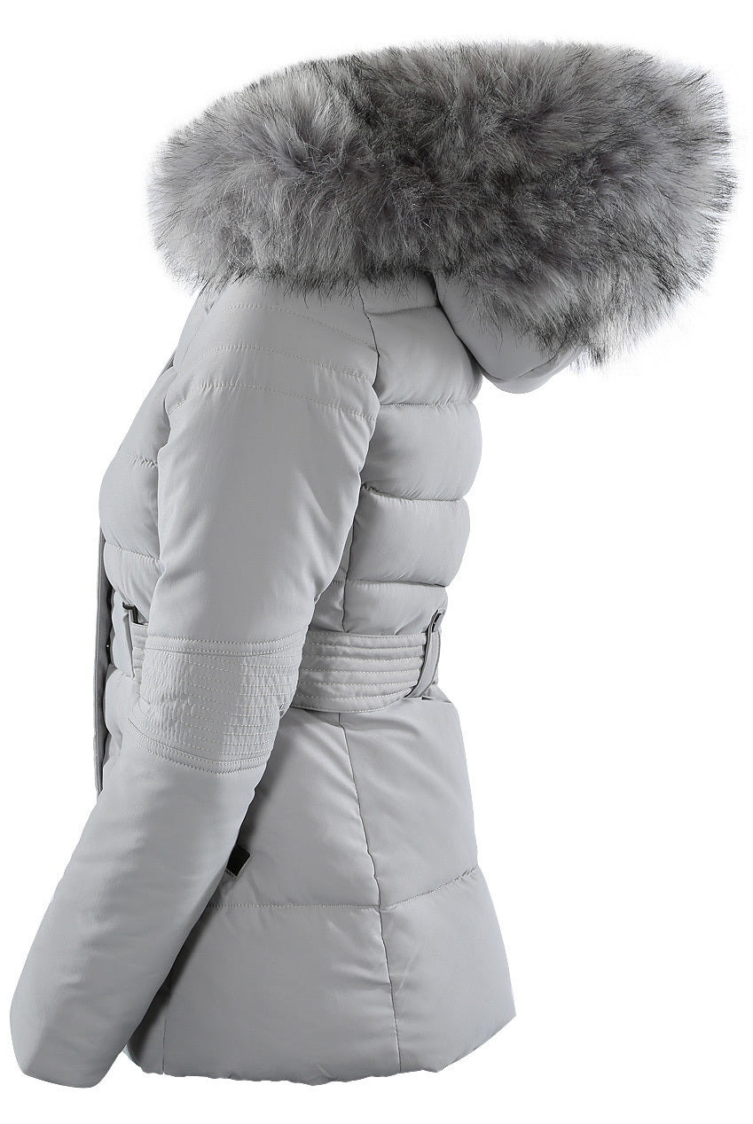 Grey Chunky Faux Fur Hood Padded Puffer Jacket - Lucy - storm desire