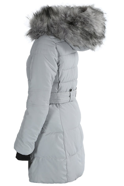 Grey Faux Fur Hood Long Padded Puffer Jacket - Paige - Storm Desire