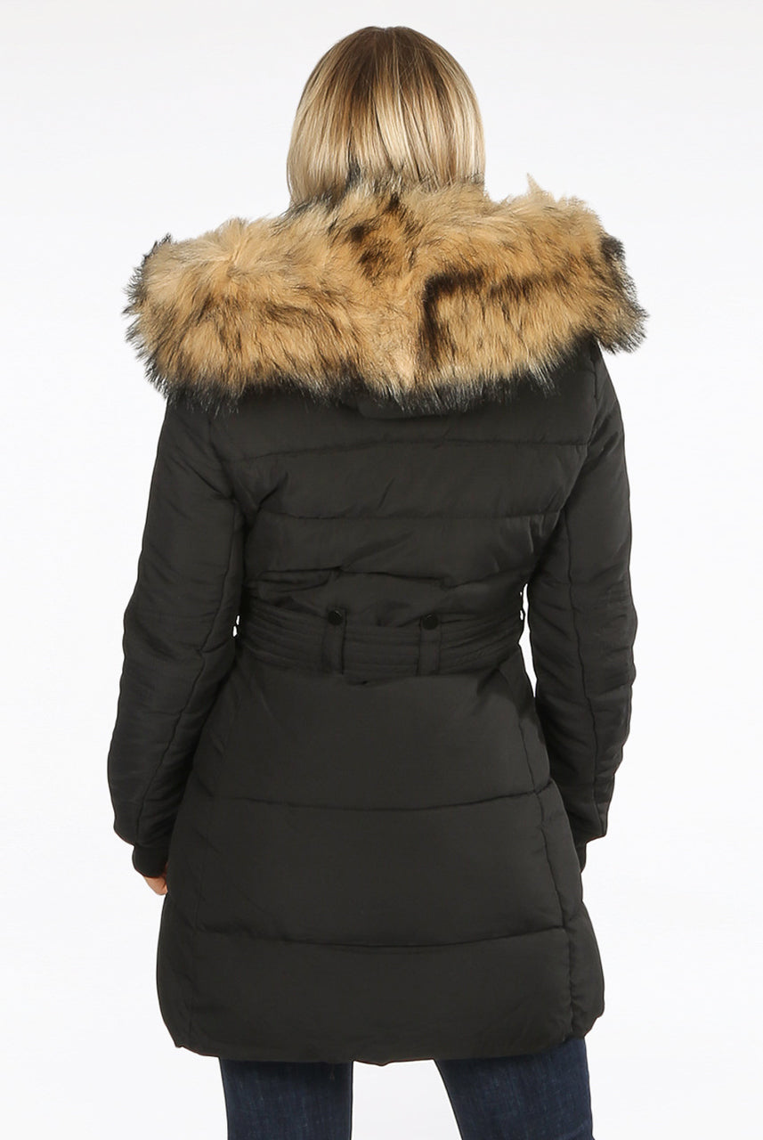 Back In Stock Black Faux Fur Hood Long Padded Puffer Jacket - Paige