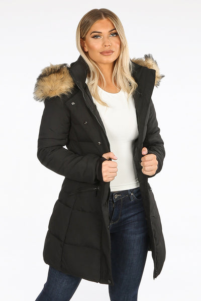 Black Faux Fur Hood Long Padded Puffer Jacket - Cici