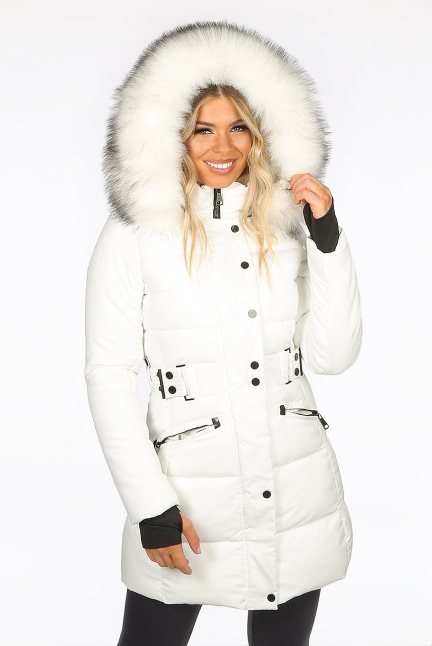 Off White Faux Fur Hood Long Padded Puffer Jacket Paige