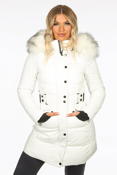 Off White Faux Fur Hood Long Padded Puffer Jacket - Paige