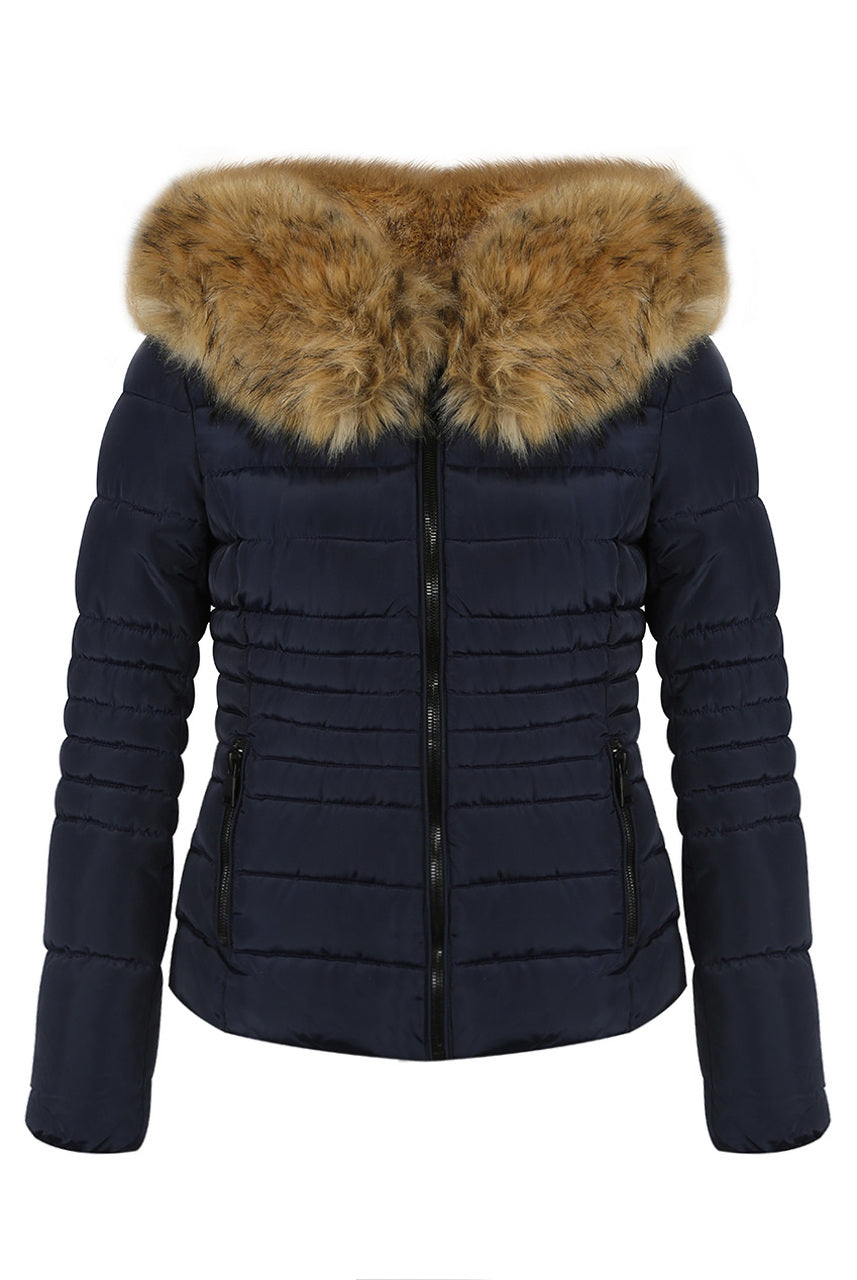 Navy Blue Faux Fur Hood Puffer Jacket - Destiny