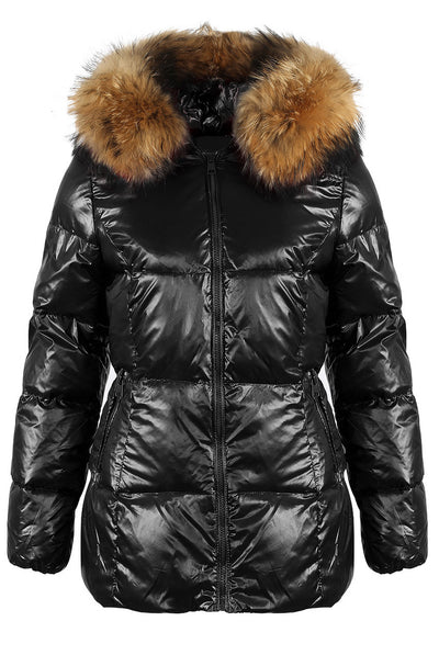 Black Fur Hood Shiny Mid Length Puffer Jacket - Savannah - storm desire