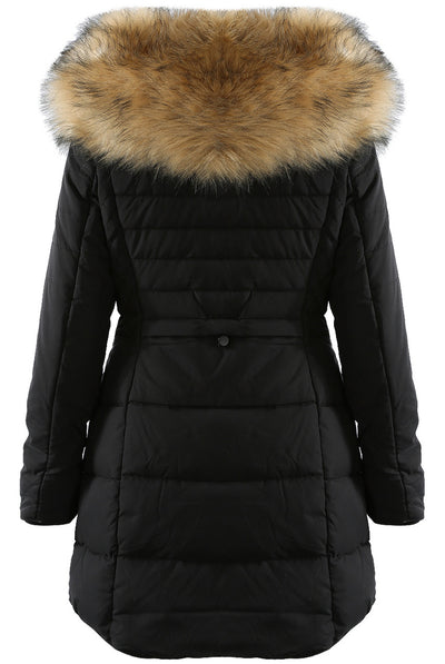 Black Faux Fur Hooded Long Padded Puffer Jacket - Valeria - storm desire