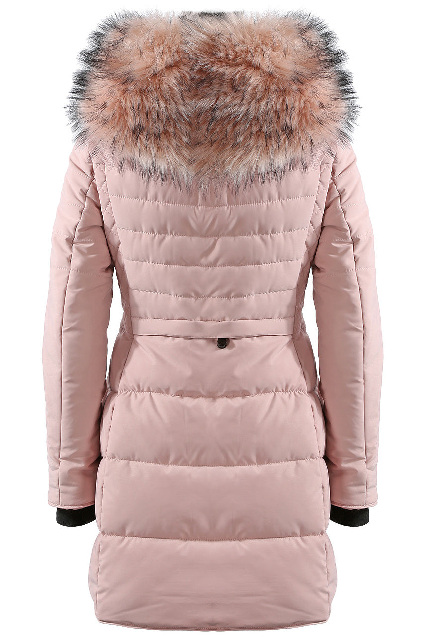Pink Faux Fur Hooded Long Padded Puffer Jacket - Valeria