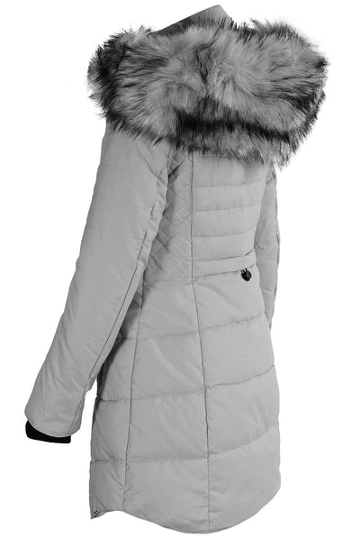 Grey Faux Fur Hooded Long Padded Puffer Jacket - Valeria - Storm Desire