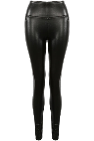 Black Matt High Waisted Pu Vinyl Leggings - Ella - storm desire