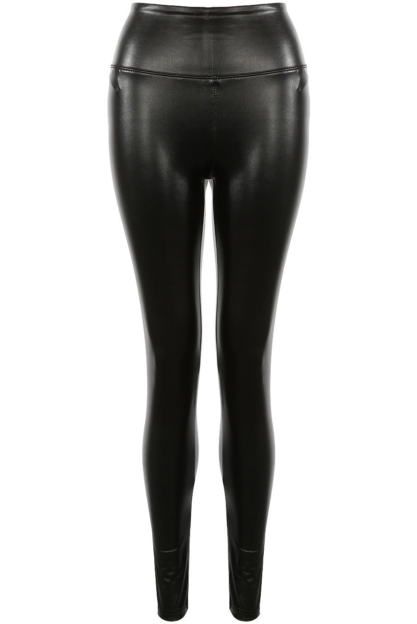 Black Matt High Waisted Pu Vinyl Leggings - Ella