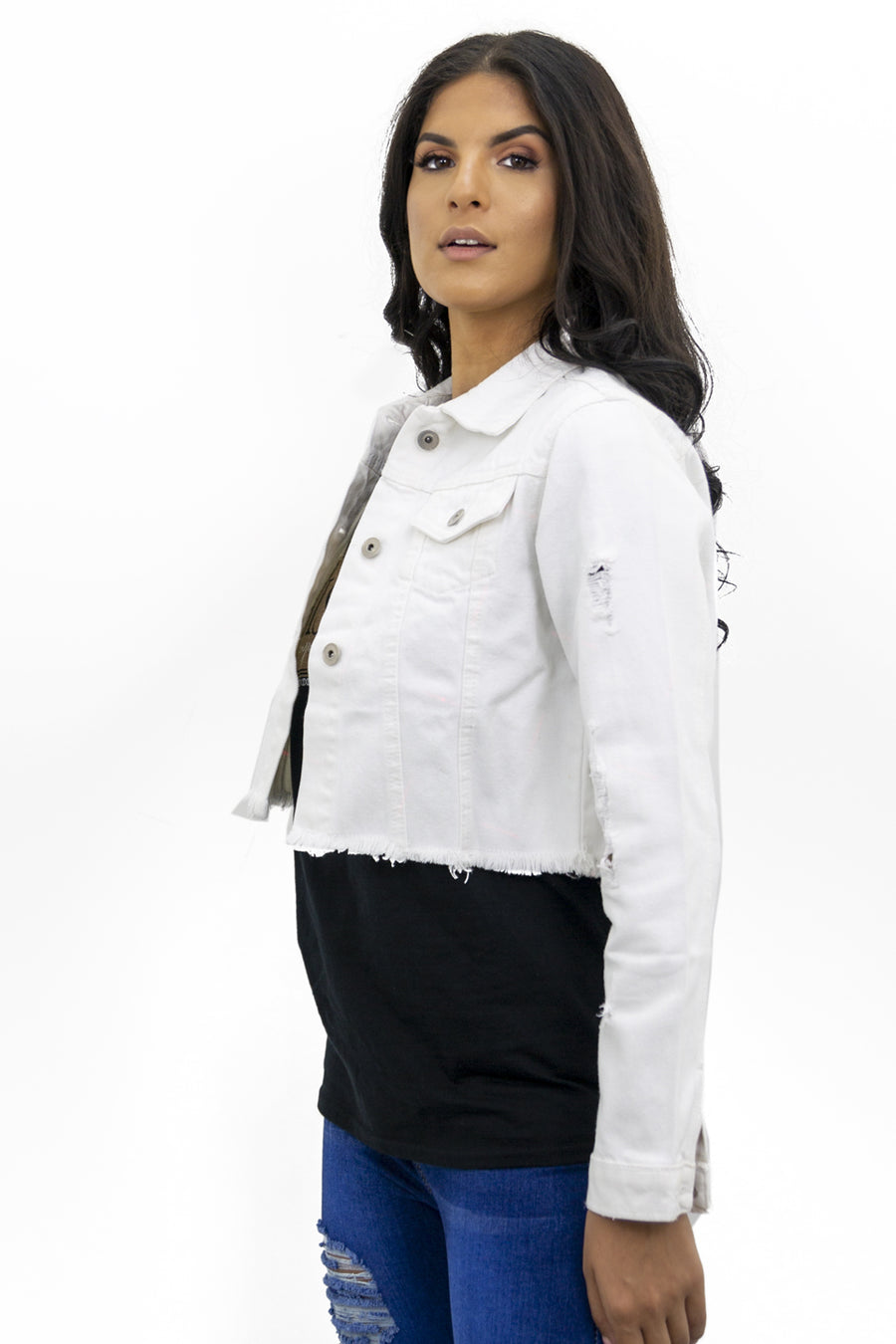 White Distresed Hem Denim Jacket - Vera