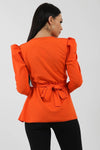 Orange Double Ring Wrap Front Belted Top - Eliana
