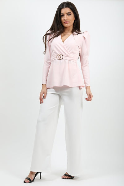 Baby Pink Double Ring Wrap Front Belted Top - Eliana