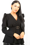 Black Double Ring Wrap Front Belted Top - Brinley