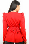 Red Double Ring Wrap Front Belted Top - Brinley