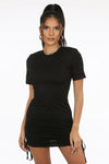 Black Short Sleeves Slinky Mini Dress - Harley