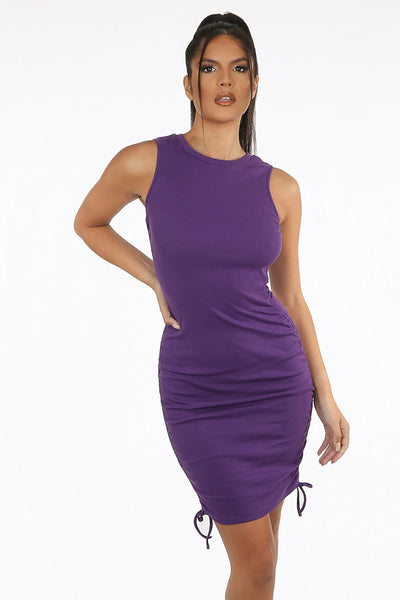 Side Ruched Ribbed Mini Dress- Kasha