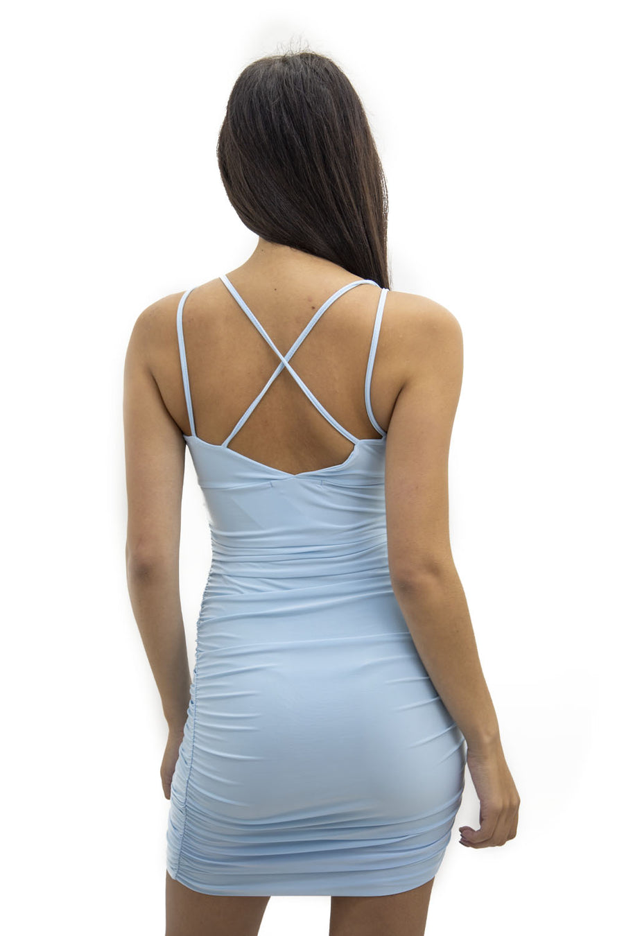 Blue V Neck String Back Mini Dress - Blush