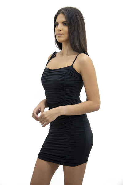 Black Tie Strap Rouched Mini Dress - Breeze