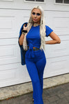 Blue Ribbed Tie Knot Crop Top & Trouser Set - Ashley