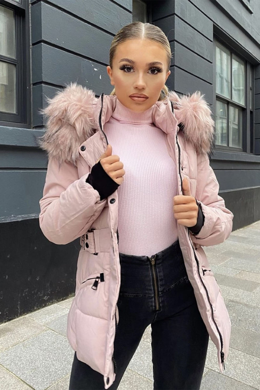 Pink Chunky Faux Fur Hood Padded Puffer Jacket - Lucy