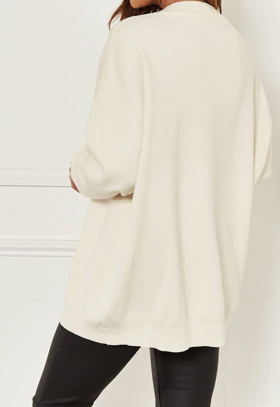 Cream Sequin Lip Knitted Baggy Jumper - Phoenix