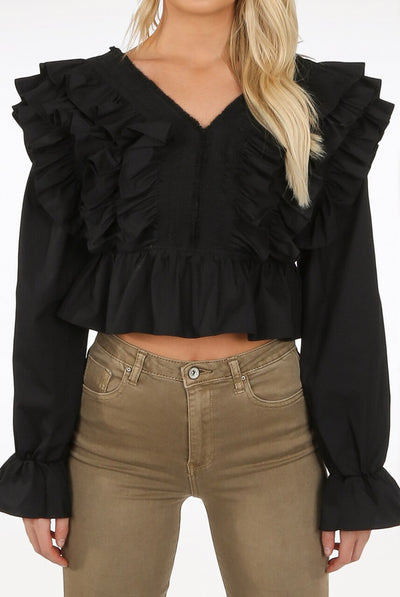 Black Layered Frill Crop Top - Adora