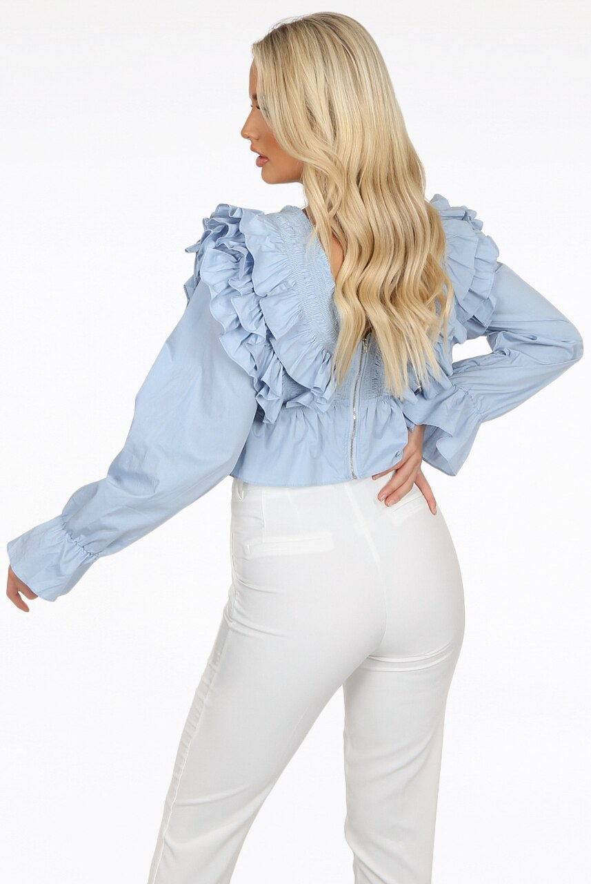 Blue Layered Frill Crop Top - Adora