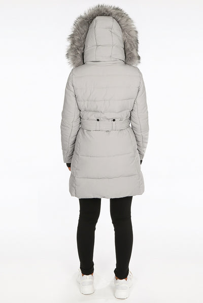 Grey Faux Fur Hood Long Padded Puffer Jacket - Paige