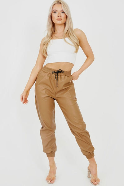 Camel Faux Leather Joggers - Bella