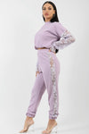 Lilac Floral Lace Sleeve & Panel Detail Co-ord Suit - Hope