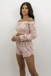 Baby Pink Floral Shorts & Crop Top Co-ord Set - Clara