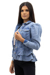 Light Denim Frill Hem Puff Sleeve Denim Jacket - Eleanor