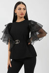 Black Frill Organza Sleeve Double Ring Belted Top - Mela