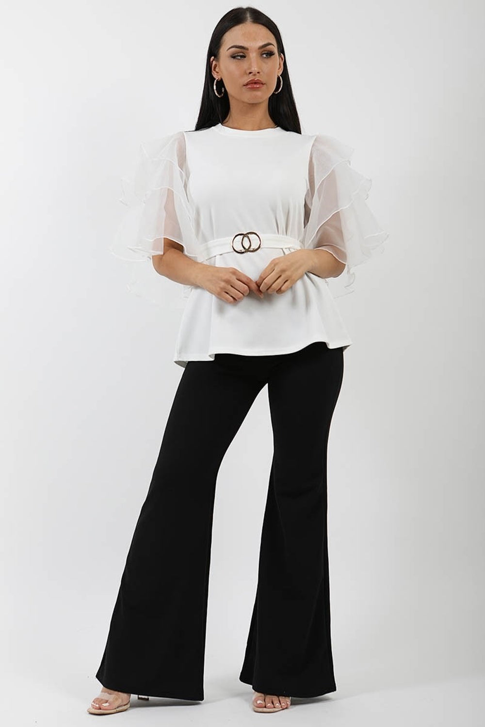 Off White Frill Organza Sleeve Double Ring Belted Top - Mela