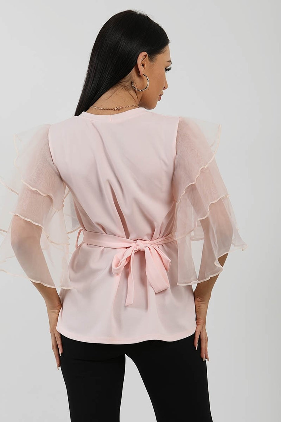 Baby Pink Frill Organza Sleeve Double Ring Belted Top -