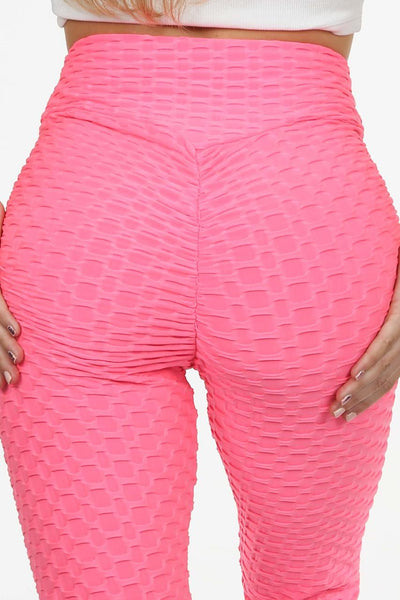 Neon Pink Ruched Textured Active leggings - Daniella