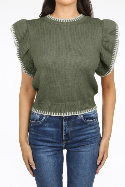 Khaki Green Frill Sleeve Chunky Knitted Top - Riley