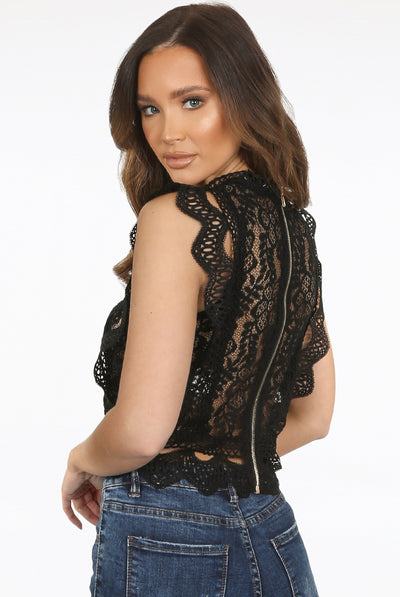 Back In Stock Black Lace Crochet Mesh Crop top - Delilah